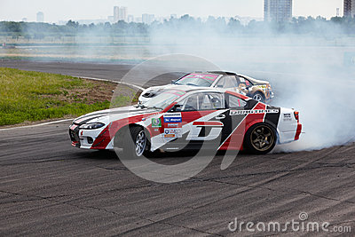Racing car of E.Satyukov in curve on track Editorial Photography