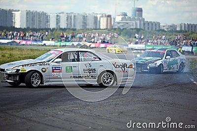 Racing car of M.Khondakaryan on track in 3-d tour Editorial Photography