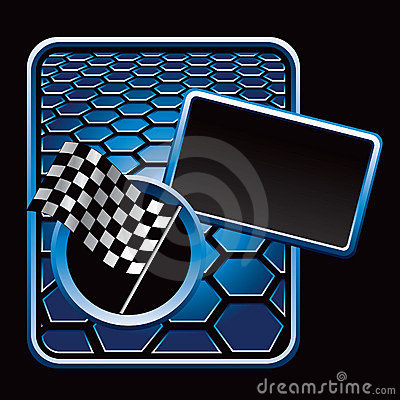 Racing checkered flag on blue hexagon ad