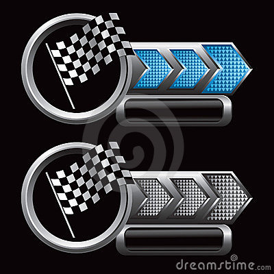 Racing checkered flag on blue and silver arrow ads