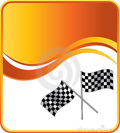 Racing checkered flags on orange wave background