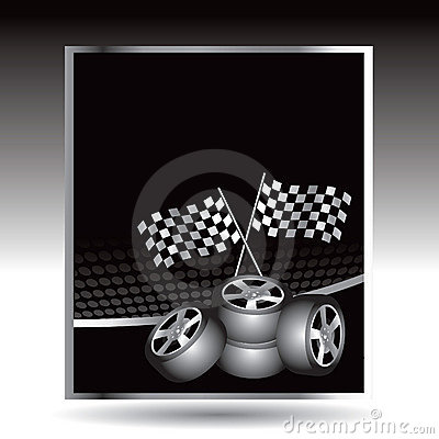 Racing checkered flags and tires on web buttons