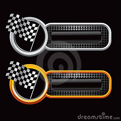 Racing checkered flags on web banners
