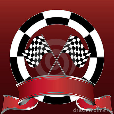 racing emblem with checkered flags and red banner royalty