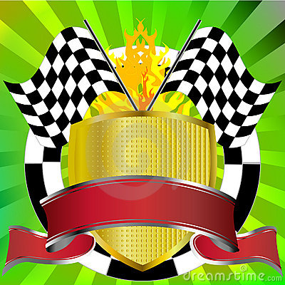 Racing emblem with flags and banner