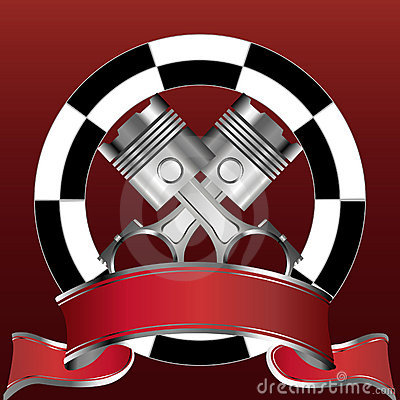 Racing emblem with piston and red banner