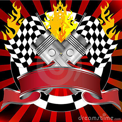 Racing emblem in red with rally flags