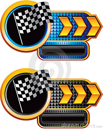 Auto Racing Flags  Banners on Stock Image  Racing Flag On Gold Arrow Nameplate Banners  Image