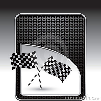 Racing flags on black checkered background