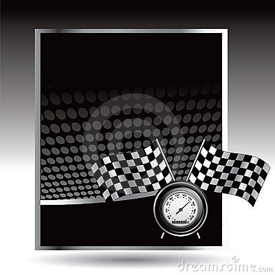Racing flags and speedometer on black halftone ad