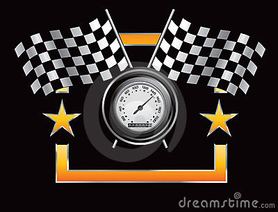 Racing flags and speedometer in orange star frame