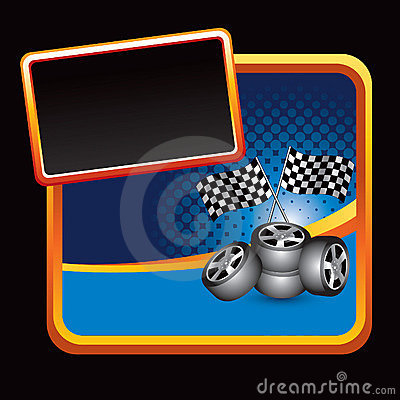Auto Racing Flags  Banners on Illustration  Racing Flags And Tires Stylized Banner  Image  11212480