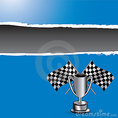 Racing flags and trophy on blue ripped banner