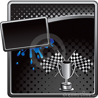 Racing flags and trophy on halftone advertisement