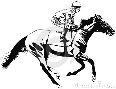 Racing horse and jockey