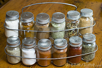 Rack of assorted spices