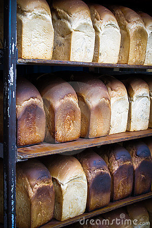 Rack of freshly baked breads