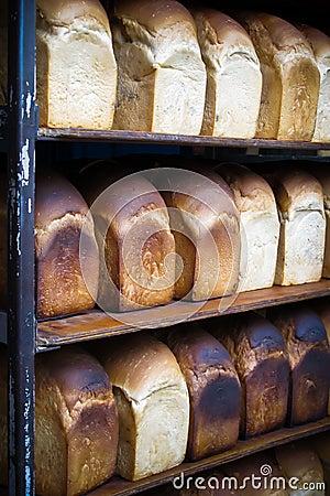Rack of freshly baked breads