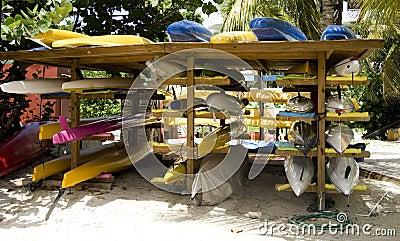 Rack of Kayaks