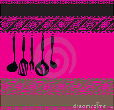 Illustration Of Rack Of Kitchen Utensils On Ancient Background Made