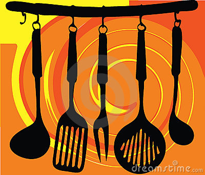 Rack of kitchen utensils illustration