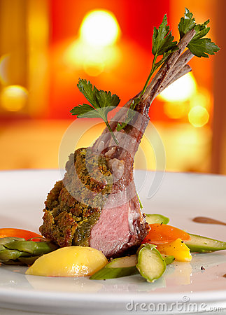 Rack of lamb in a herb crust.