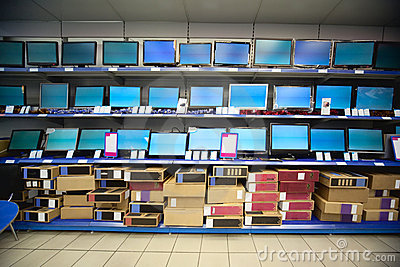 Rack with liquid crystal displays and monitors