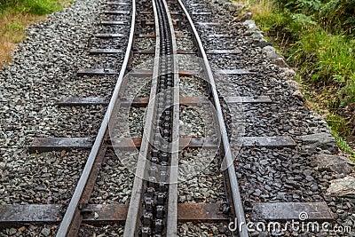 Rack and pinion railway on snowdon