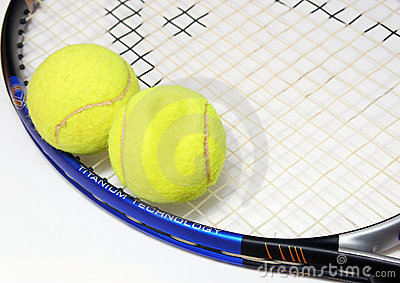 A racket and two tenis balls