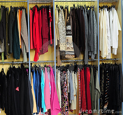 Racks with clothes