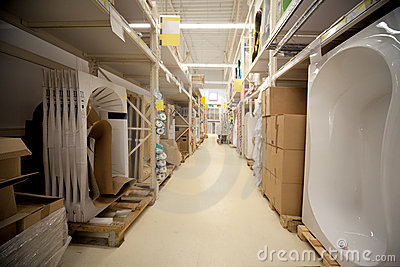 Racks in warehouse sanitary technicians in store