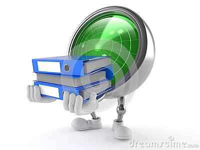 Radar character carrying ring binders Stock Photo