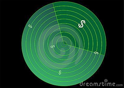 Radar with dollar sign