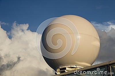 A radar dome on a ship