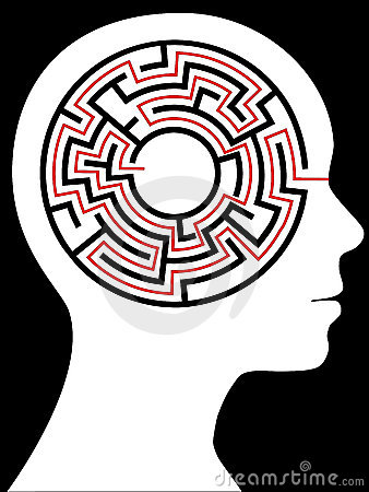 Radial Maze Circular Brain Puzzle in a Head
