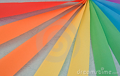 Radial multicolored ribbons.