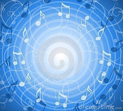 Free Radial Music Notes Blue Background Stock Image - 4389631
