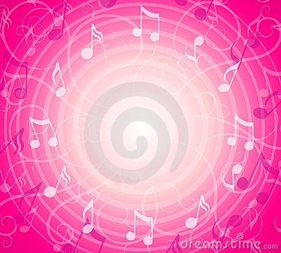 Radial Music Notes Pink Background