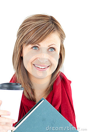 Radiant caucasian woman holding a book and coffee