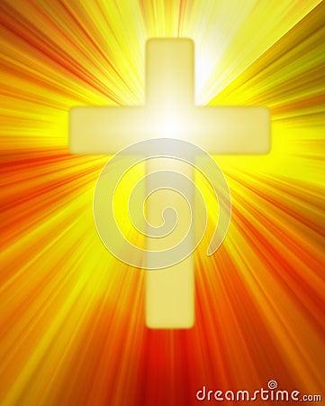 Radiant yellow cross symbol on bright rays