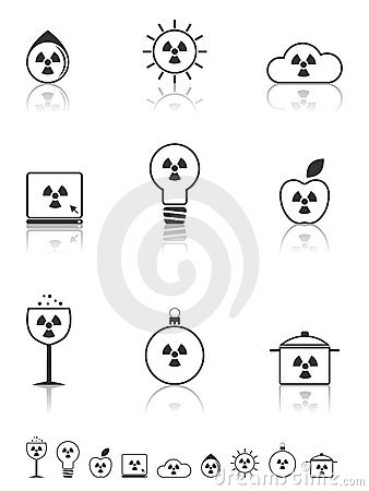 Radiation icons set.