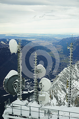 Radio antennae and on Zugspitze