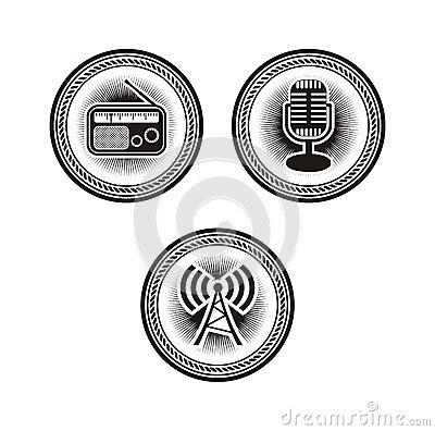 Free Radio Badges Stock Image - 38355731