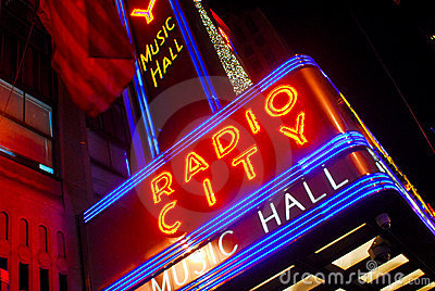 Radio City Music Hall neon sign Editorial Stock Image