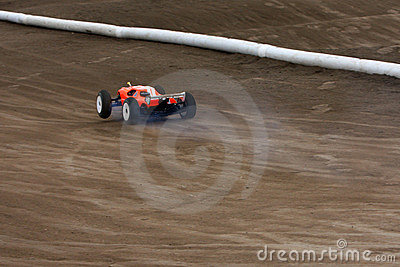 Radio controlled car at race track