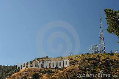 Radio station with hollywood Editorial Photo