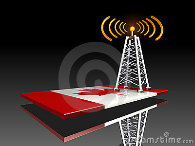 Radio Tower and Canadian Flag
