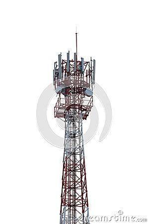 Radio tower isolated on white background.