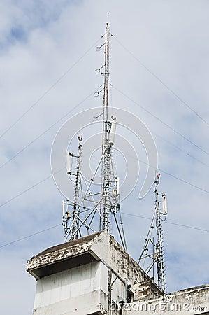Radio transmission tower.
