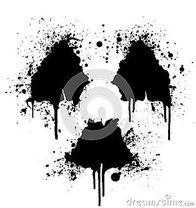 Radioactive symbol ink splatter